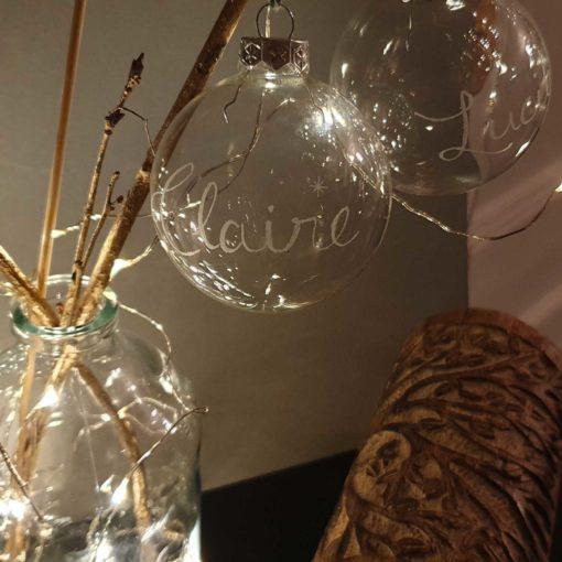 Boules de Noël gravées