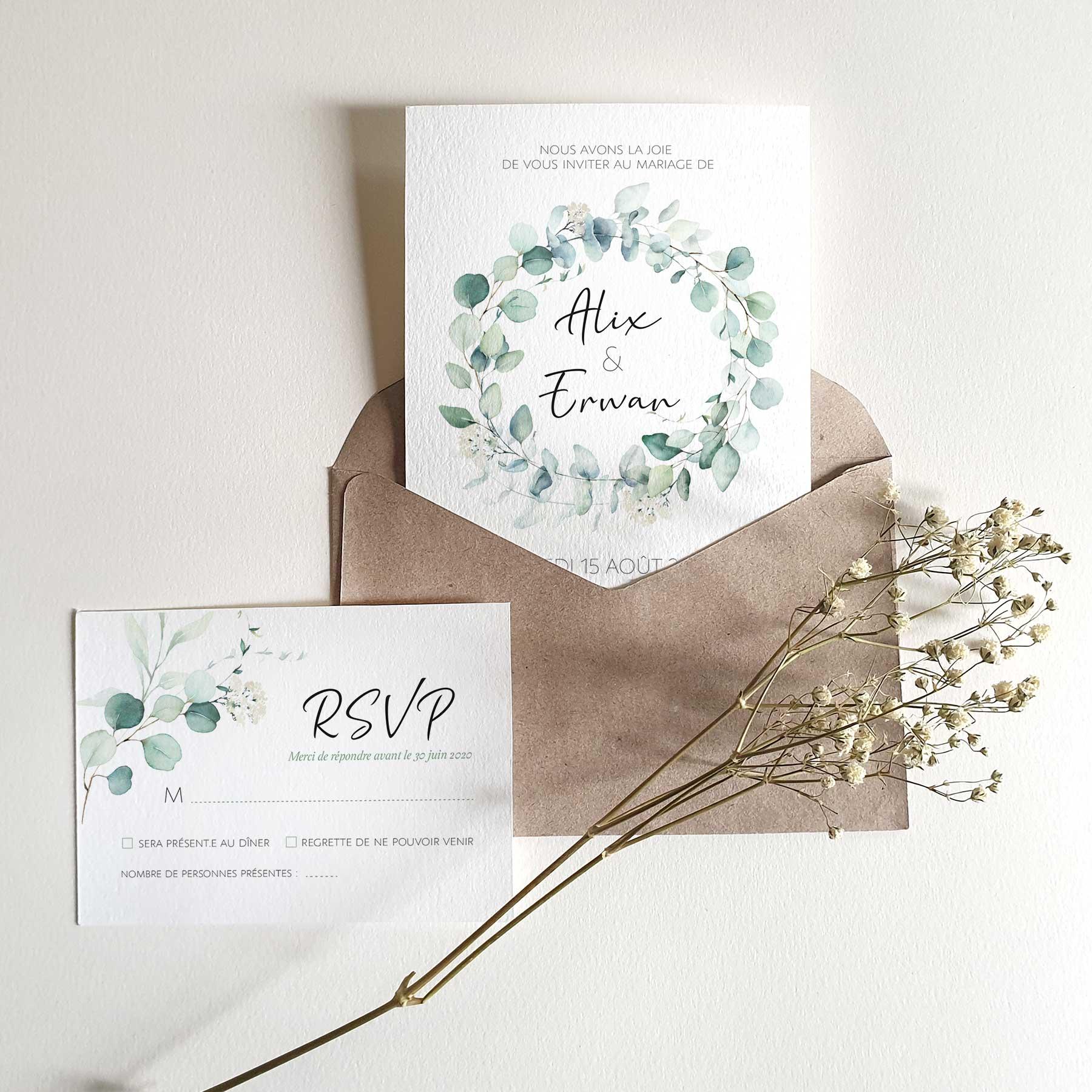 Faire-part de mariage style floral champêtre