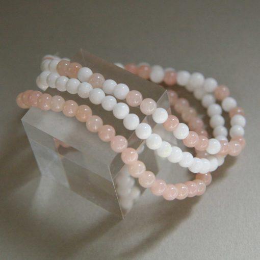 Bracelet en jade rose et blanc assortis