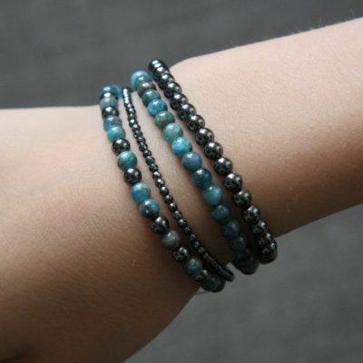 Assortiment de bracelets en Apatite et hématite noire - Kit créatif DIY