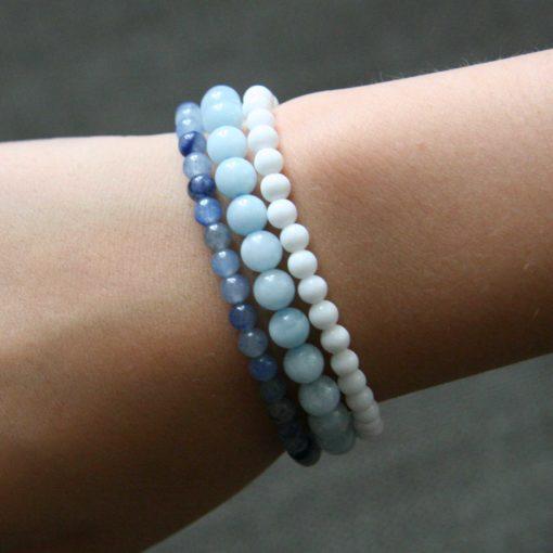 Assortiment de bracelets en Aventurine Aigue-marine et Jade blanc - Kit créatif DIY