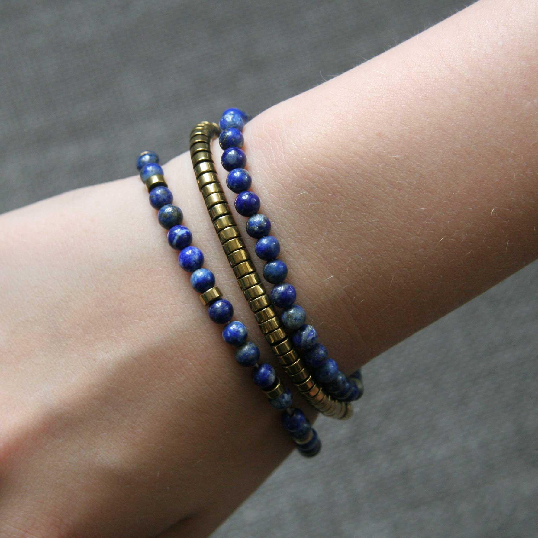 Assortiment de bracelets en Lapis-lazuli et hématite - Kit créatif DIY
