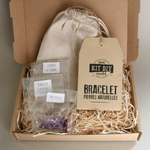 Kit DIY bracelet améthyste avec son packaging