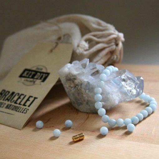 Kit créatif DIY pour bracelet en aigue-marine