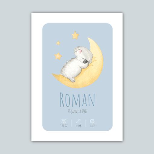 Affiche de naissance personnalisée Koala