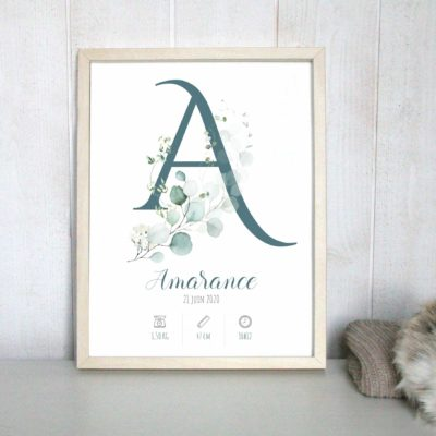 Affiche naissance personnalisé initiale