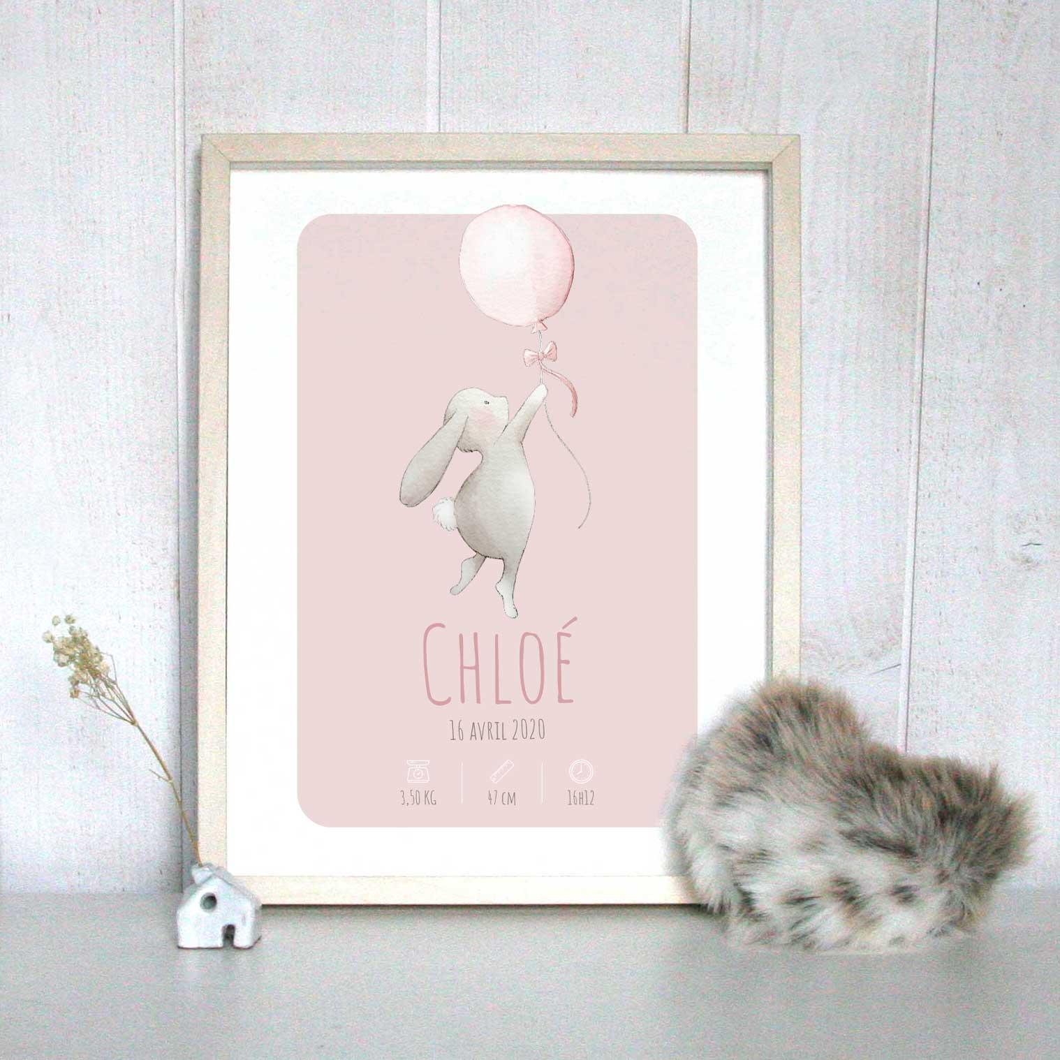 Affiche de naissance personnalisée lapin