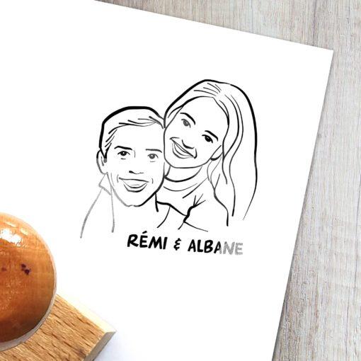 Tampon personnalisé avec illustration d'un couple