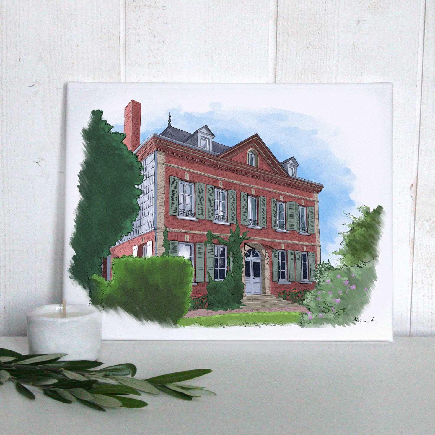 Aquarelle de maison imprimée sur toile
