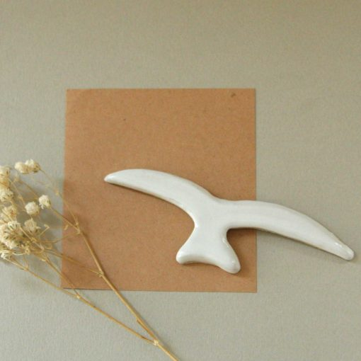 Aimant oiseau en céramique blanche