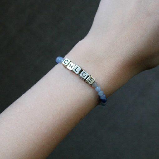 Bracelet en aventurine avec lettres prénom