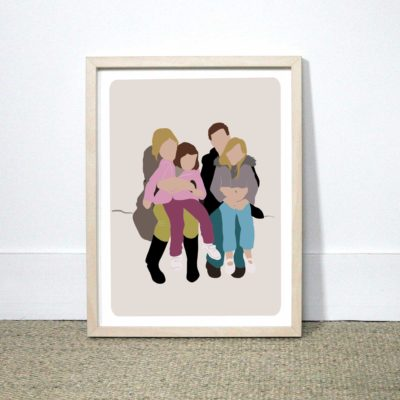 Illustration portrait de famille imprimé