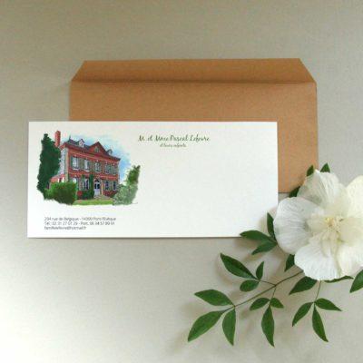 Carte de correspondance aquarelle personnalisée