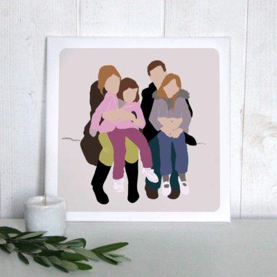 Portrait de famille illustration numérique imprimée sur toile